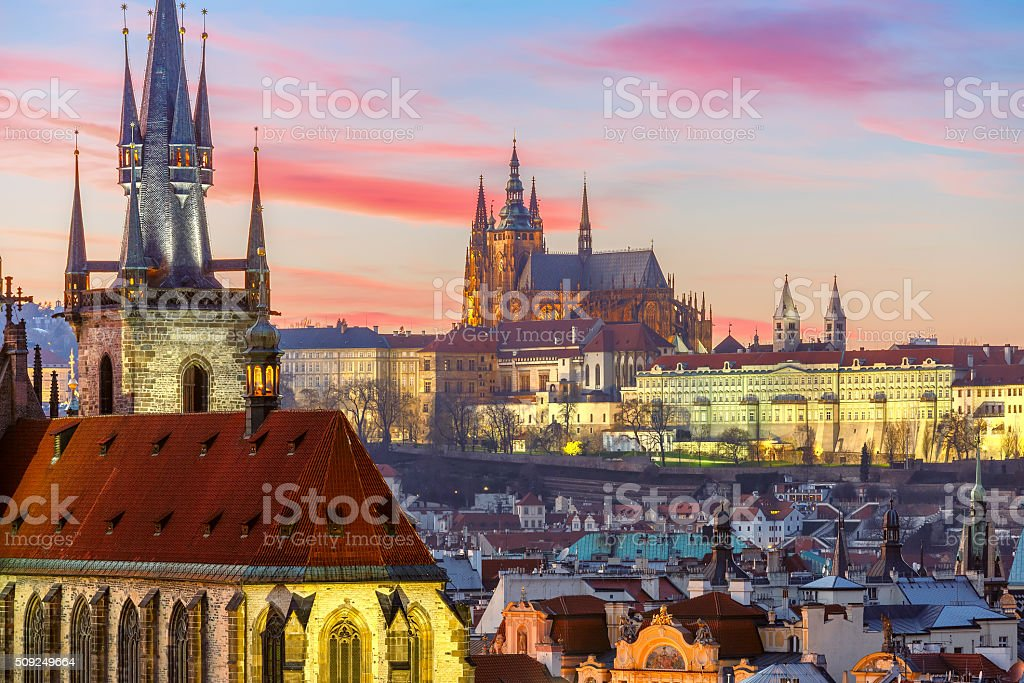 Aerial view over Old Town at sunset, Prague stock photo