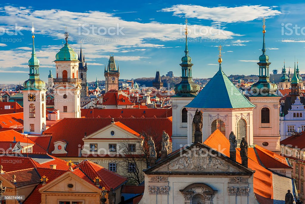 Aerial view over Old Town in Prague, Czech Republic stock photo
