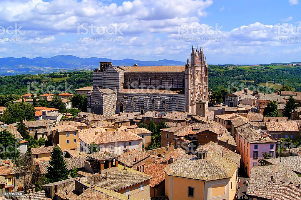 Aerial view over Orvieto and its Duomo, Italy stock photo