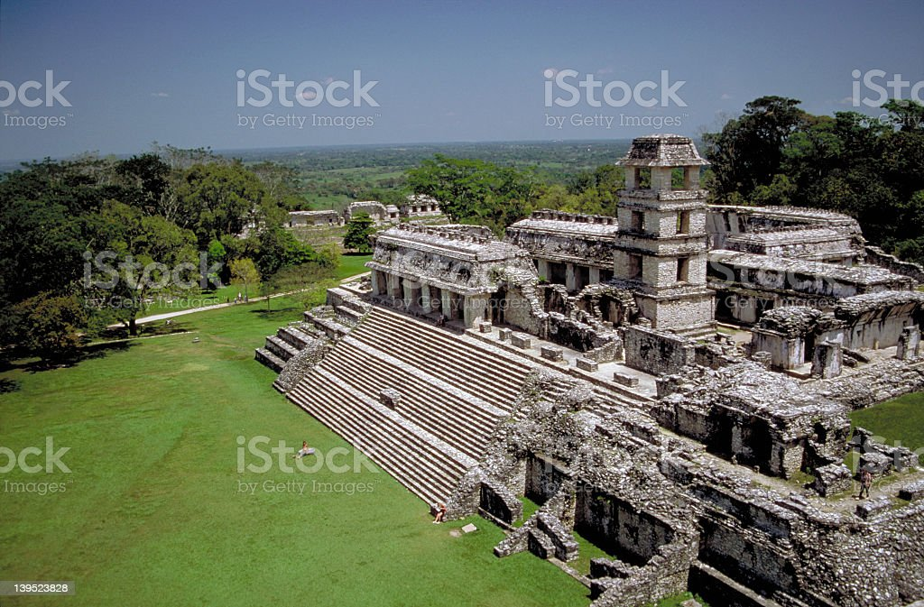 Aerial view over Palenque in the morning light stock photo