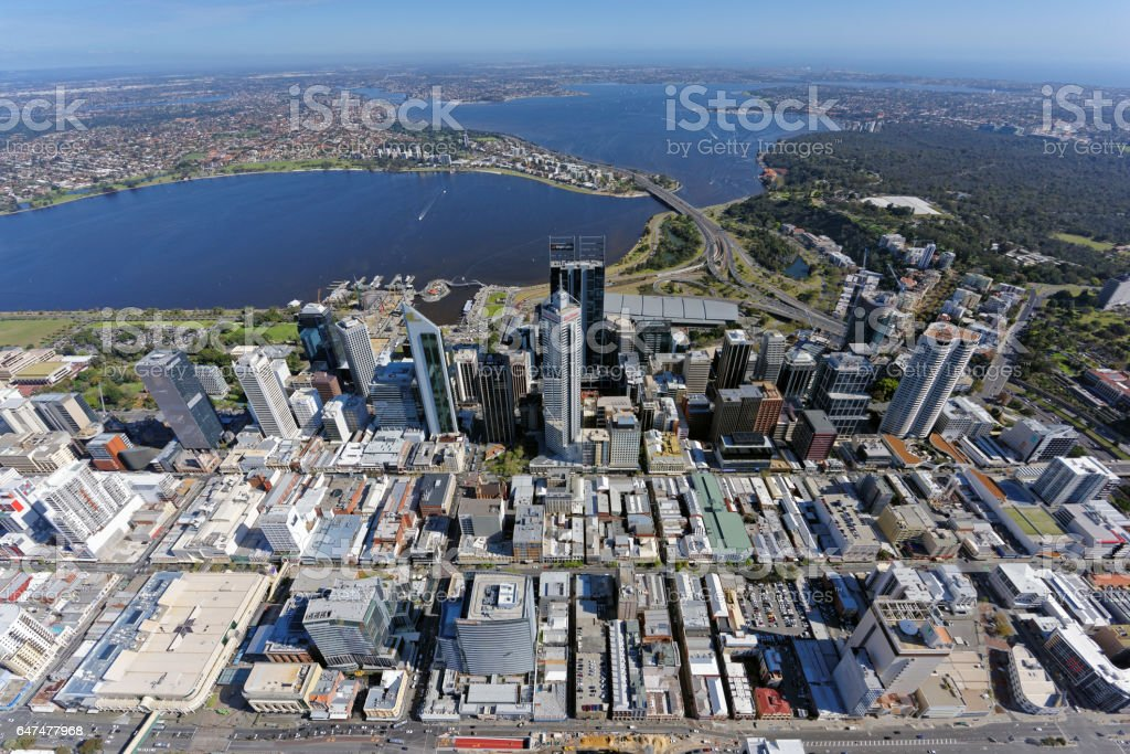Aerial view over Perth CBD, Western Australia, looking south stock photo