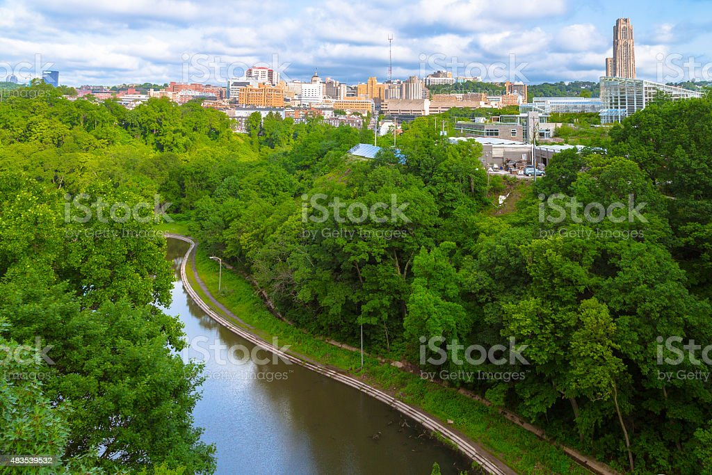 Aerial View over Pittsburgh stock photo