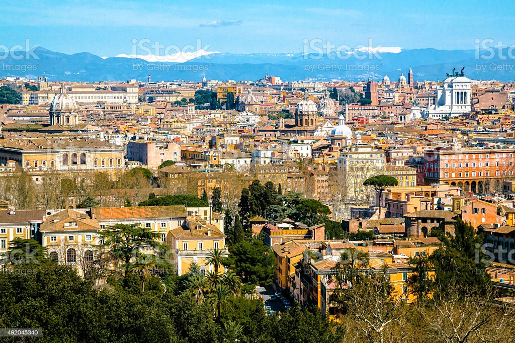 Aerial View over Rome stock photo