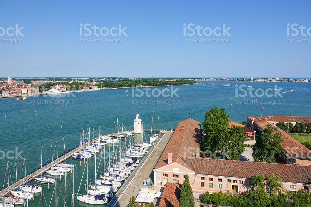 Aerial view over San Giorgio island in Venice Lizenzfreies stock-foto