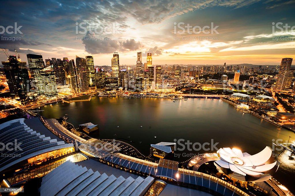 Aerial View Over Singapore Marina Bay royalty-free stock photo