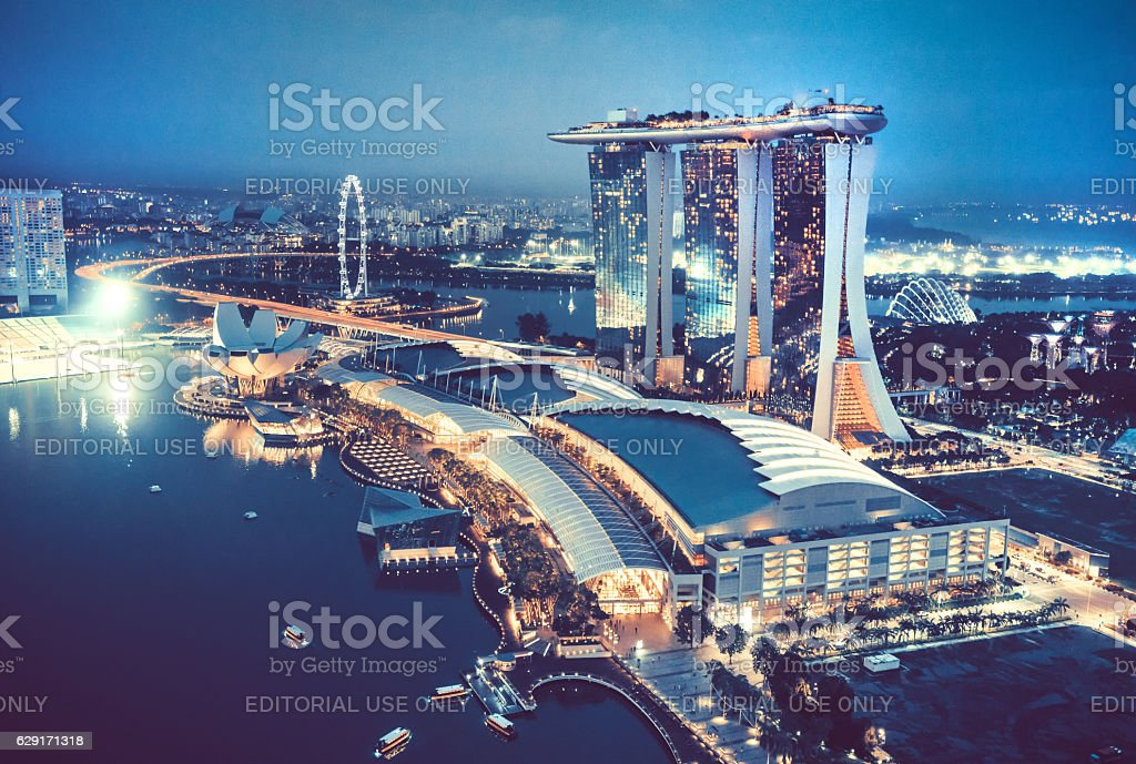 Aerial View Over Singapore  with Marina Bay Sands Hotel, Singapore stock photo