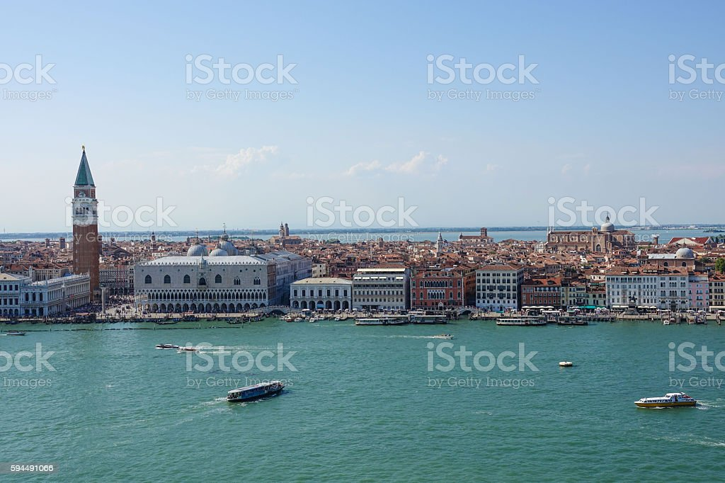 Aerial view over skyline of Venice at St Marks Place Lizenzfreies stock-foto