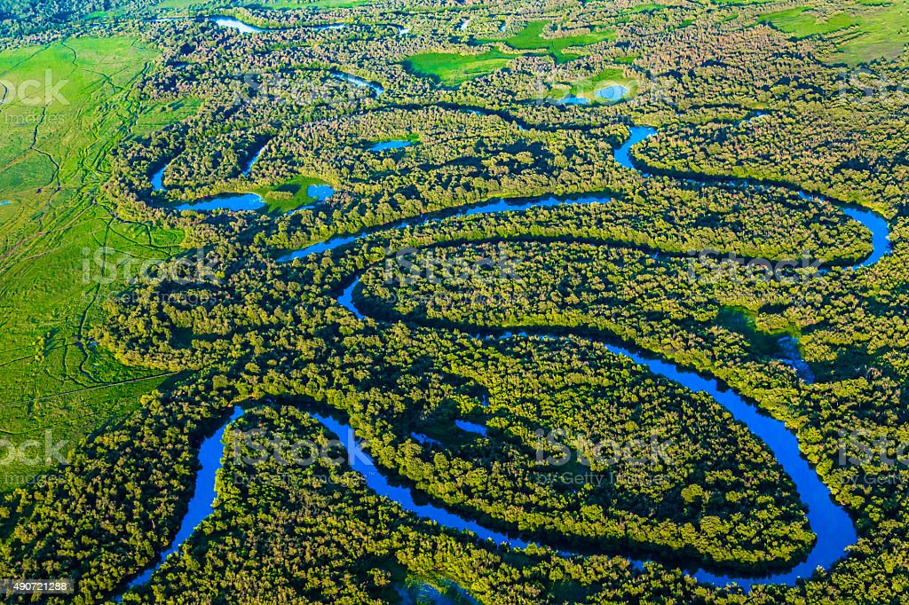 Aerial view over small river in forest stock photo
