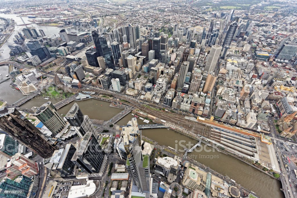 Aerial view over Southbank and Melbourne CBD under overcast skies (Victoria, Australia) stock photo