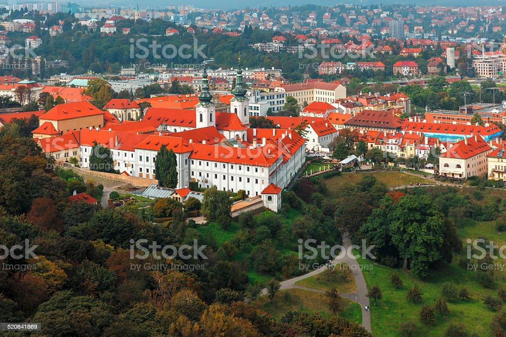 Aerial view over Strahov Monastery in Prague, Czech Republic stock photo