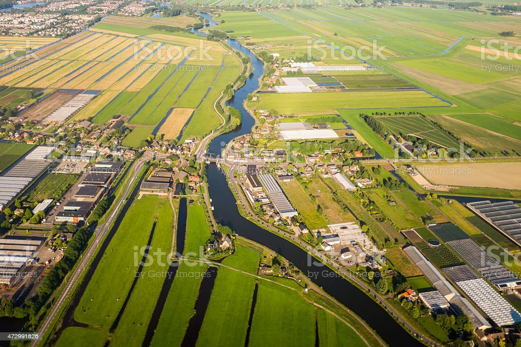 Aerial view over the Amsterdam suburbs stock photo