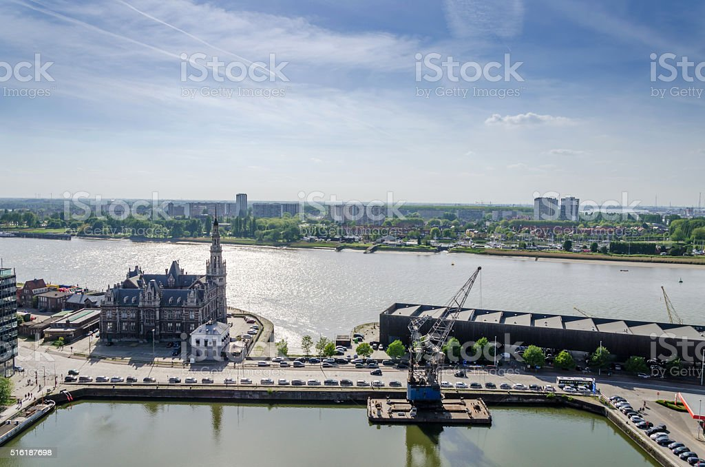 Aerial view over the city of Antwerp in Belgium stock photo