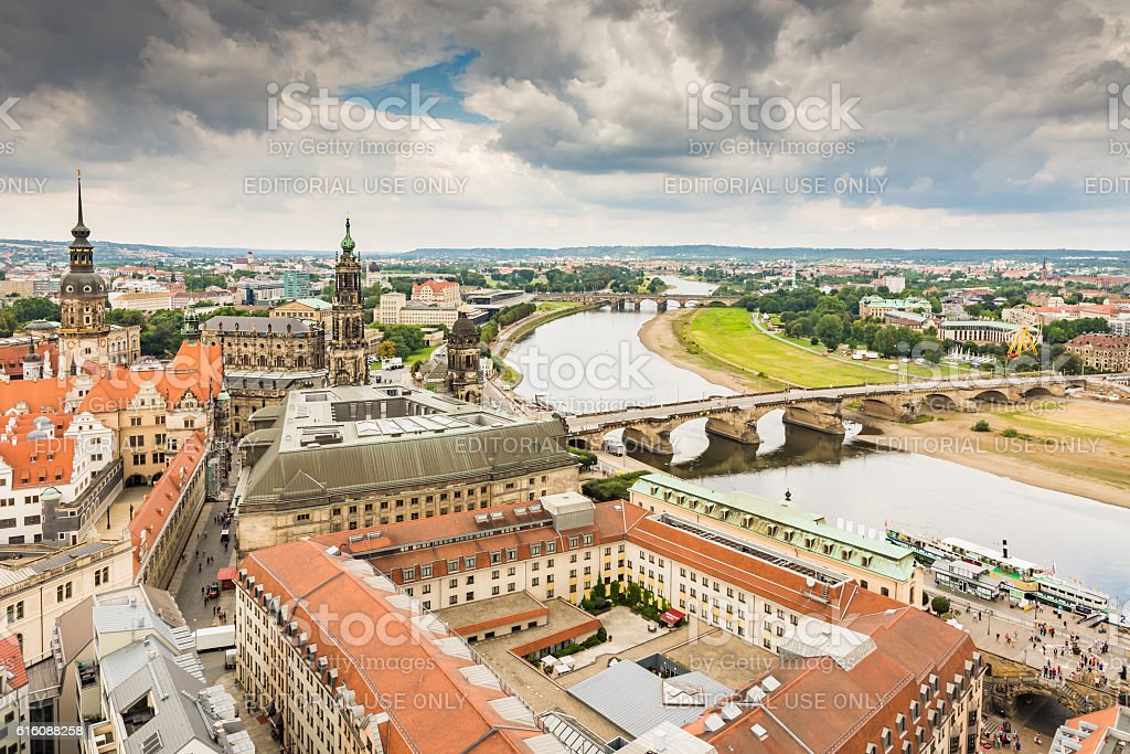 Aerial view over the city of Dresden stock photo