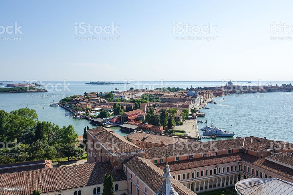 Aerial view over the island of San Giorgio Venice Lizenzfreies stock-foto