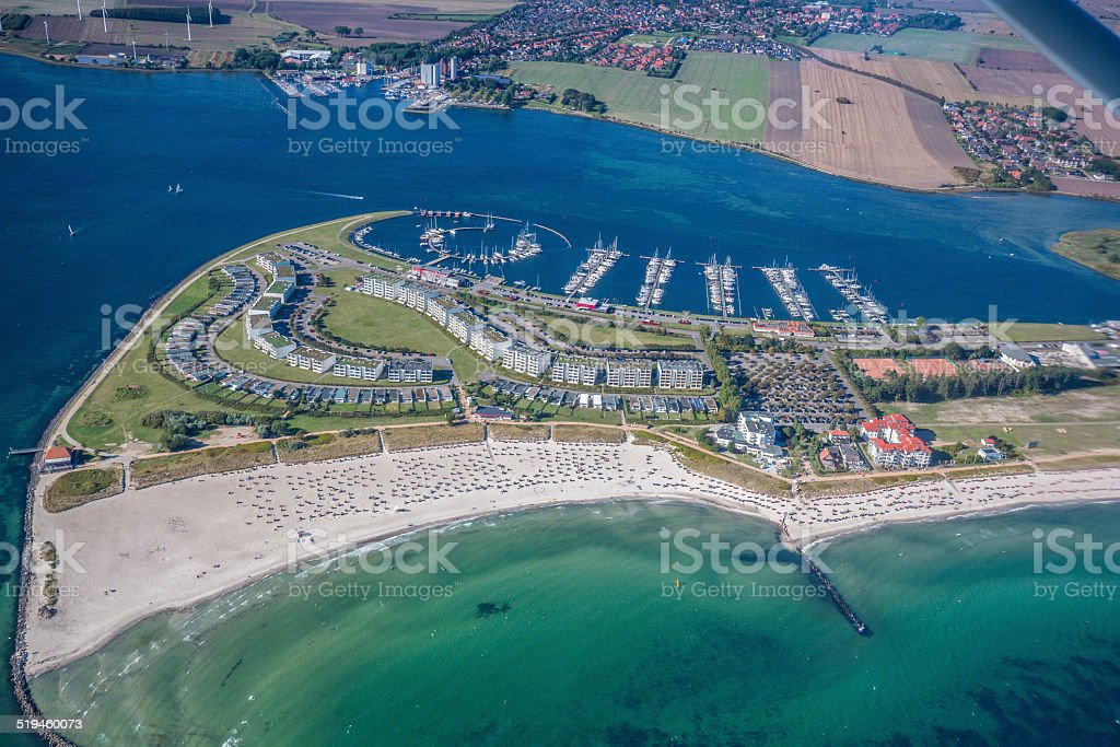 Aerial View over the marina of Burg Tiefe - Fehmarn stock photo