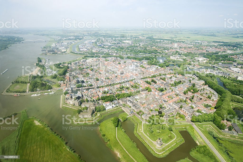 Aerial view over the old city of Gorinchem stock photo