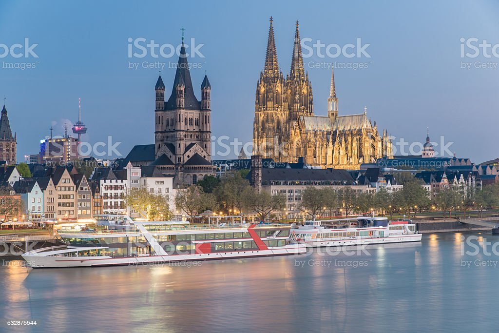 Aerial view over the Rhine River in Cologne, Germany stock photo