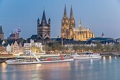 Aerial view over the Rhine River in Cologne, Germany