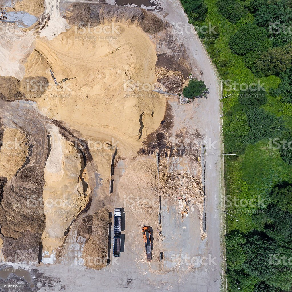 Aerial view over the sandpit. Industrial place in Poland. stock photo