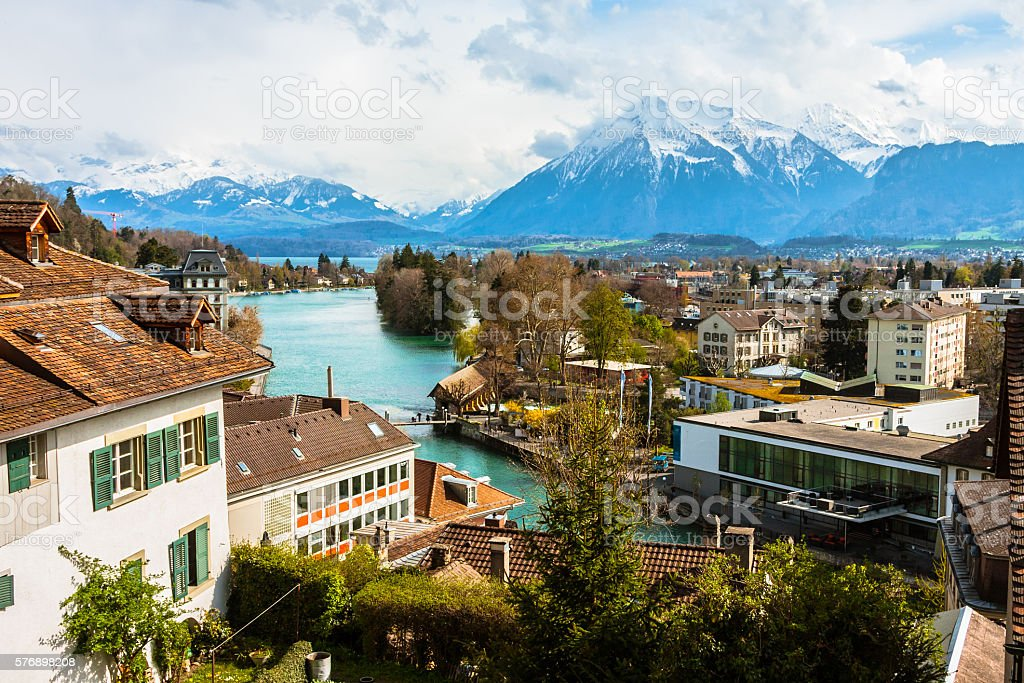 Aerial View over Thun stock photo