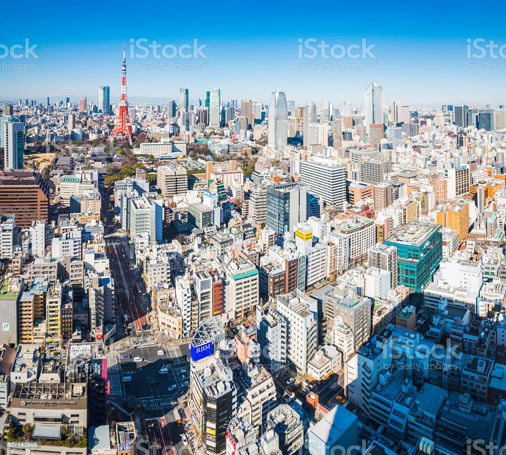 Aerial view over Tokyo skyscraper cityscape Tokyo Tower Roppongi Japan stock photo