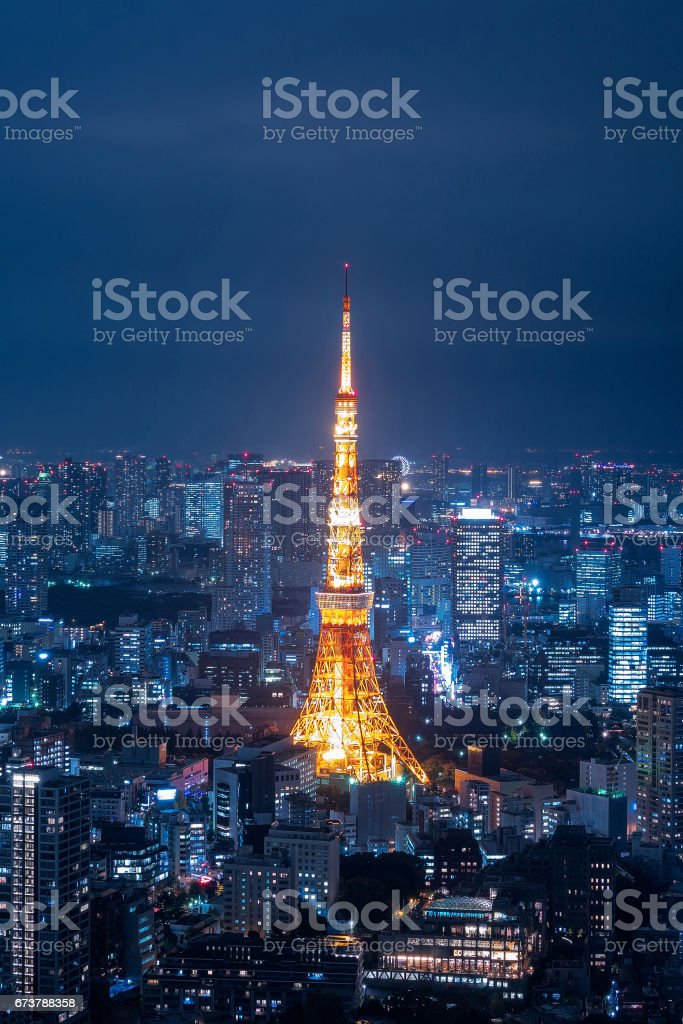 Aerial view over Tokyo tower and Tokyo cityscape view from Roppongi Hills at night. stock photo