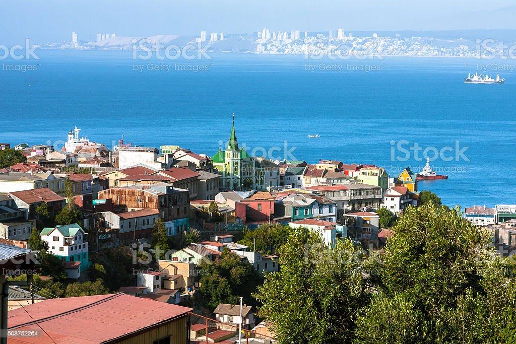 Aerial View over Valparaiso stock photo