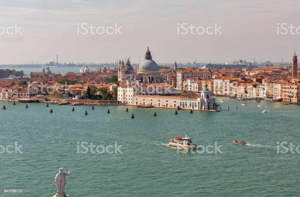 Aerial view over Venice lagoon, Italy. stock photo