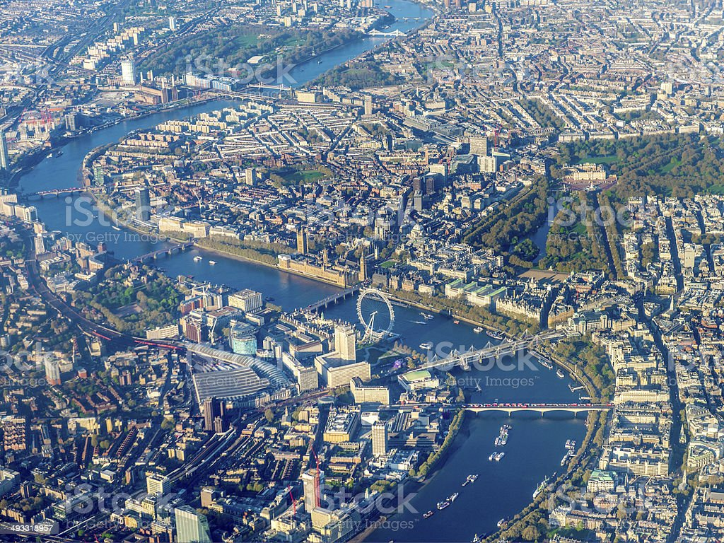 Aerial view over Westminster and River Thames, London, England, UK stock photo