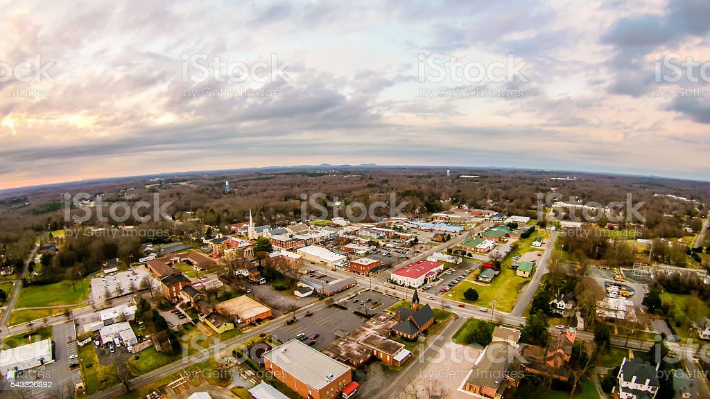 aerial view over york south carolina at sunset stock photo