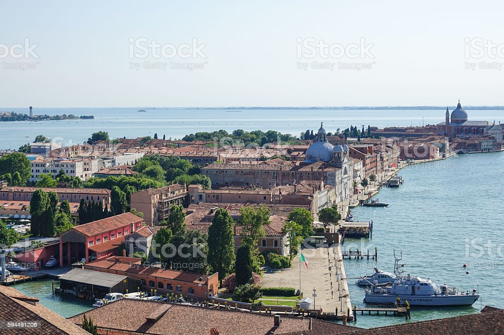 Aerial view over Zitelle and Redentore Venice from San Giorgio Lizenzfreies stock-foto
