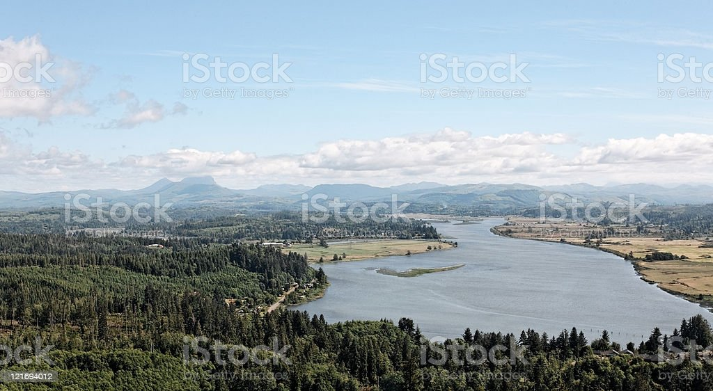 Aerial view overlooking western coast landscape, Oregon stock photo