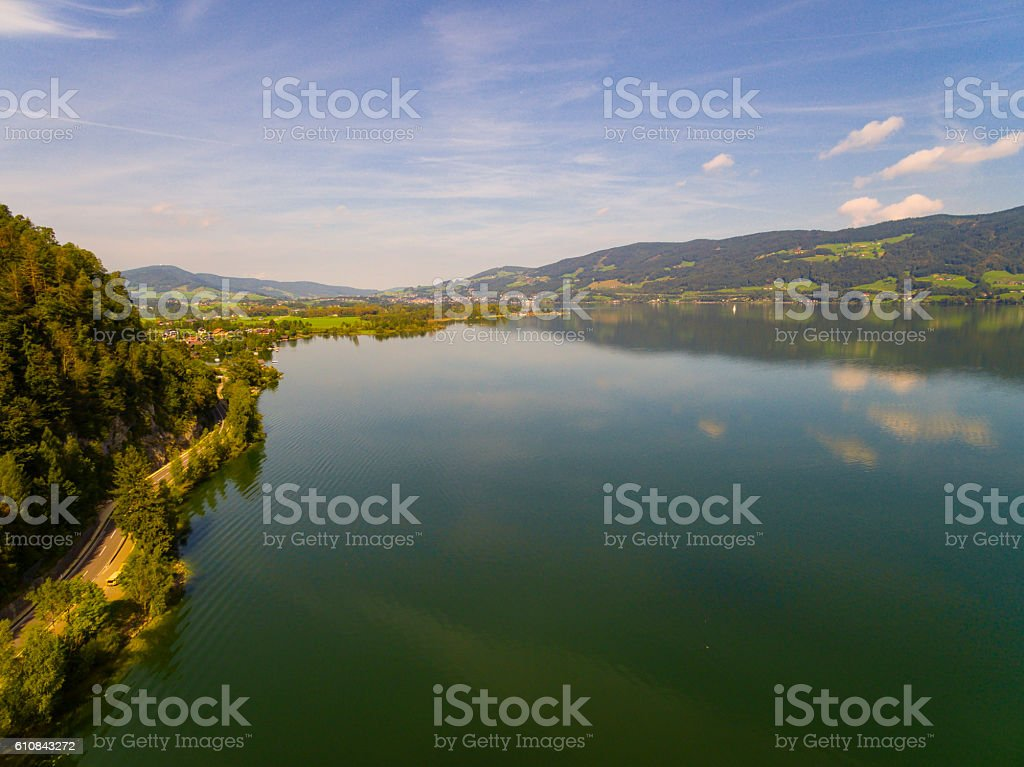 Aerial view, panorama from Mondsee,  Austria,  Oberösterreich, stock photo