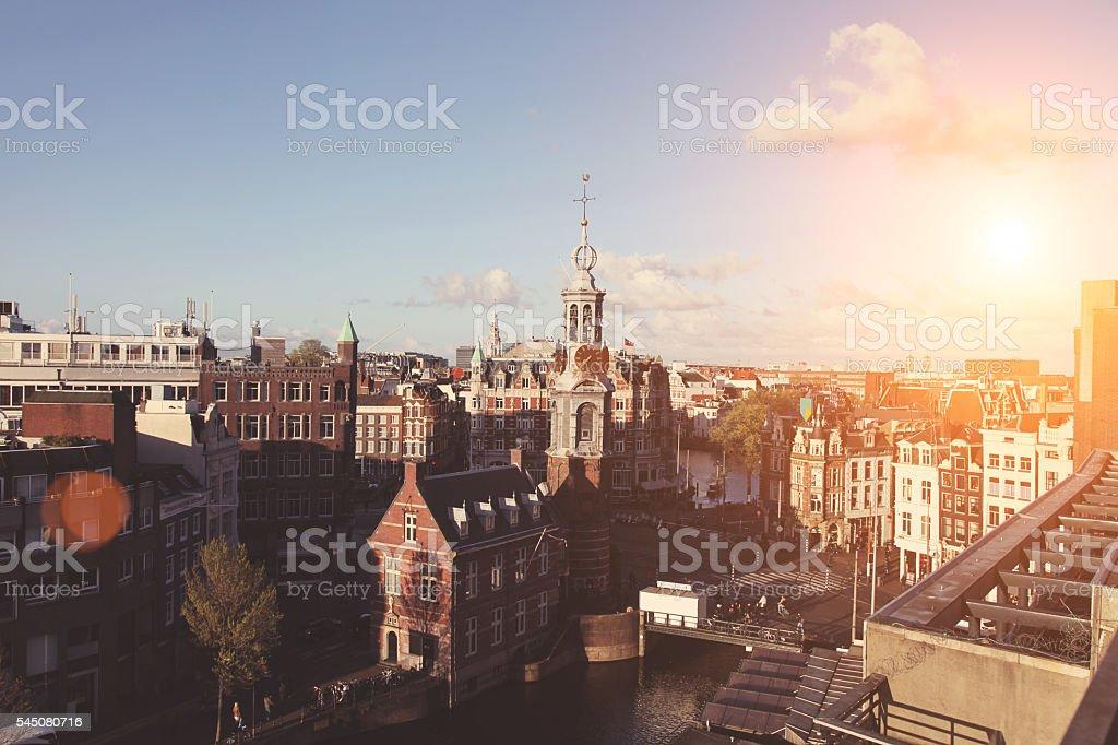 Aerial view panoramic cityscape sunset Amsterdam, Netherlands stock photo
