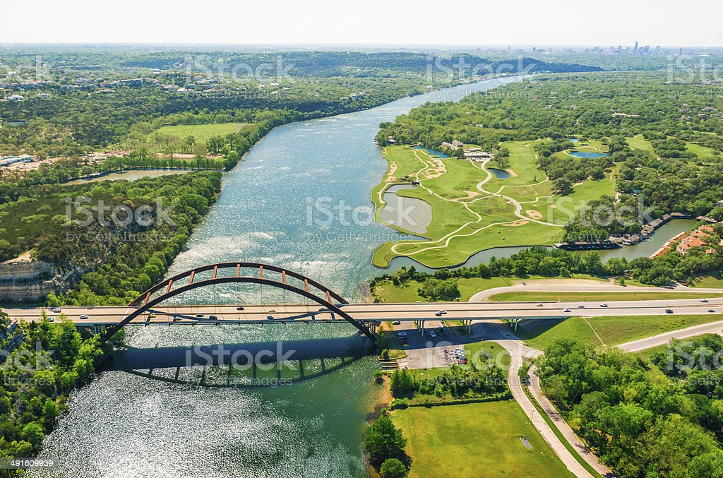 Aerial view Pennybacker 360 bridge on Colorado River, Austin, Texas stock photo