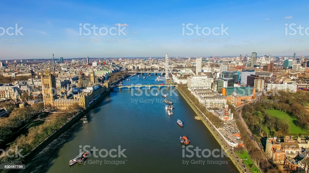 Aerial View Photo of Big Ben London Eye Landmarks Cityscape London UK stock photo
