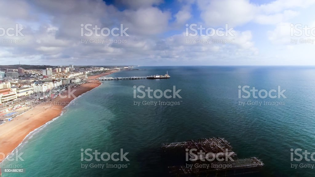 Aerial View Photo of The Old West Pier and New Brighton Pier stock photo