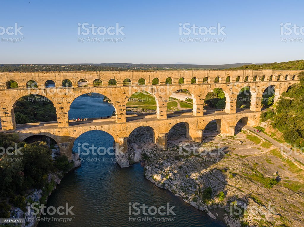 Aerial view pont du gard provence france stock photo