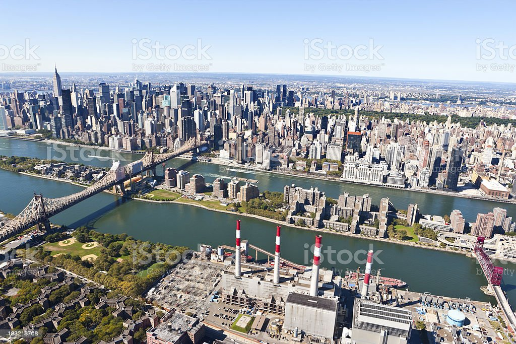 aerial view queensboro bridge and manhattan stock photo