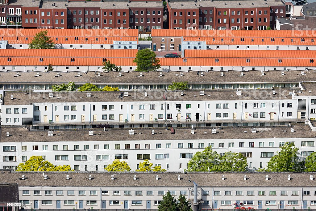 Aerial view residential area The Hague, The Netherlands stock photo