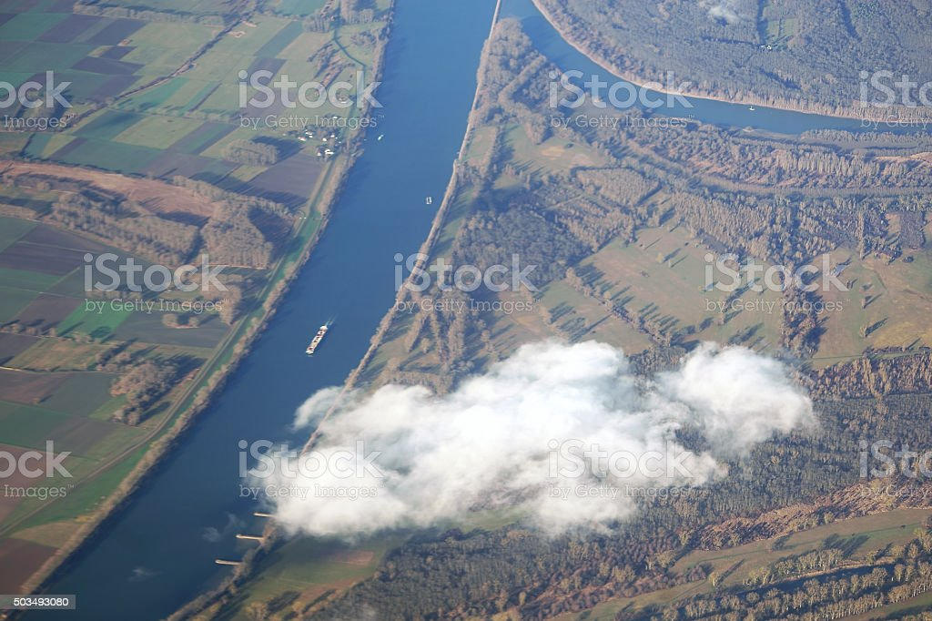 Aerial View Rhine with inflow stock photo