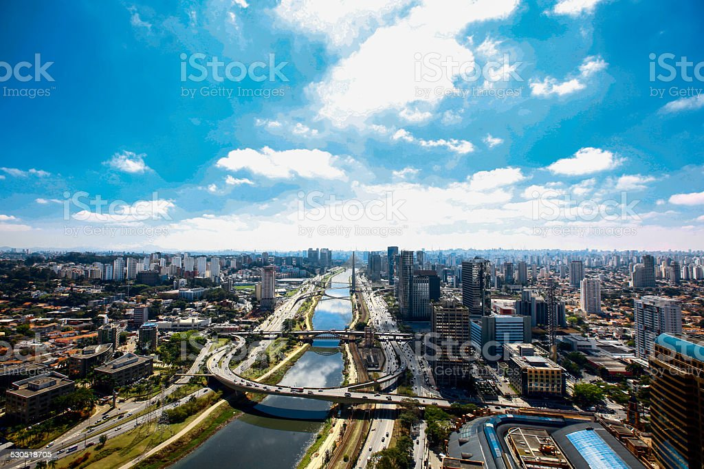 Aerial view river Pinheiros in Sao Paulo City stock photo