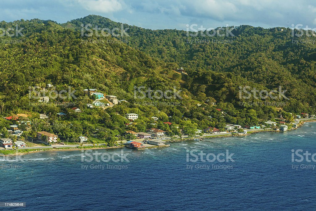 aerial view roatan island royalty-free stock photo