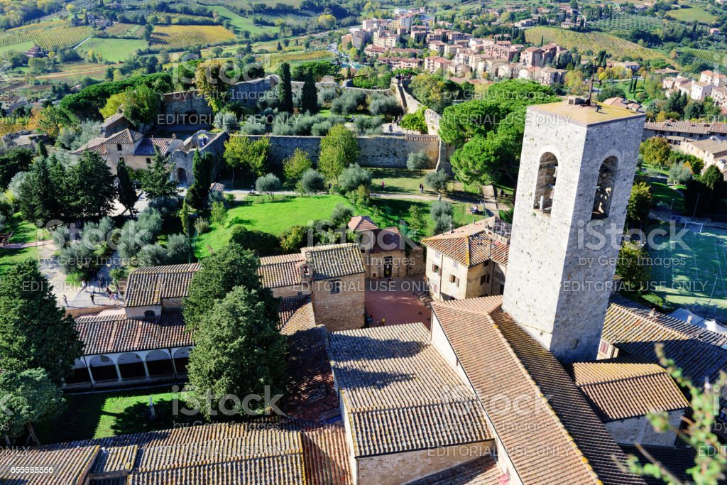 Aerial view. Rooftops, parks, bell tower. San Gimignano, Italy stock photo