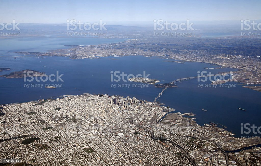 Aerial View - San Francisco seen from the sky stock photo