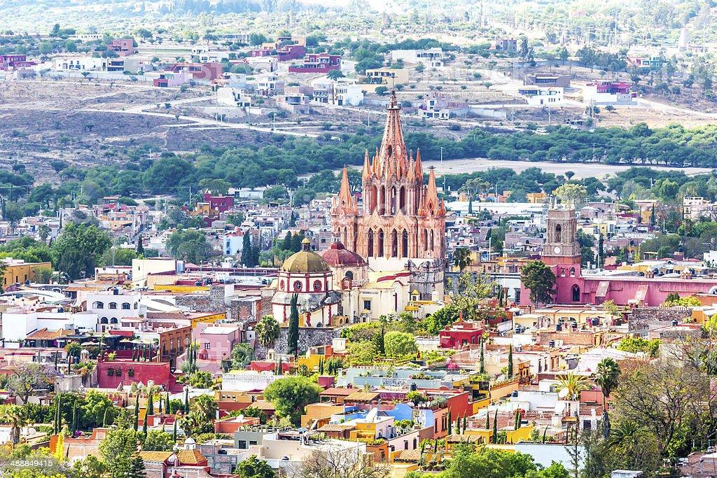 Aerial View SAn Miguel de Alllende stock photo