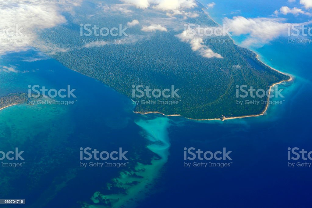 Aerial view: Saona Island turquoise caribbean sea, Dominican Punta Cana stock photo