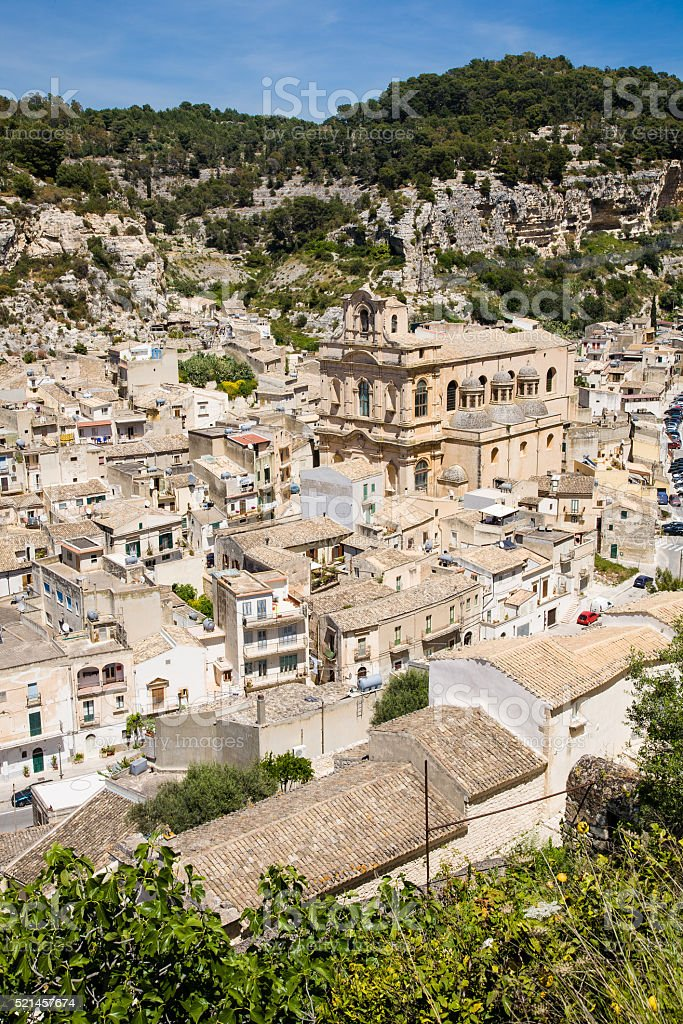 Aerial view, Scicli, Italy stock photo