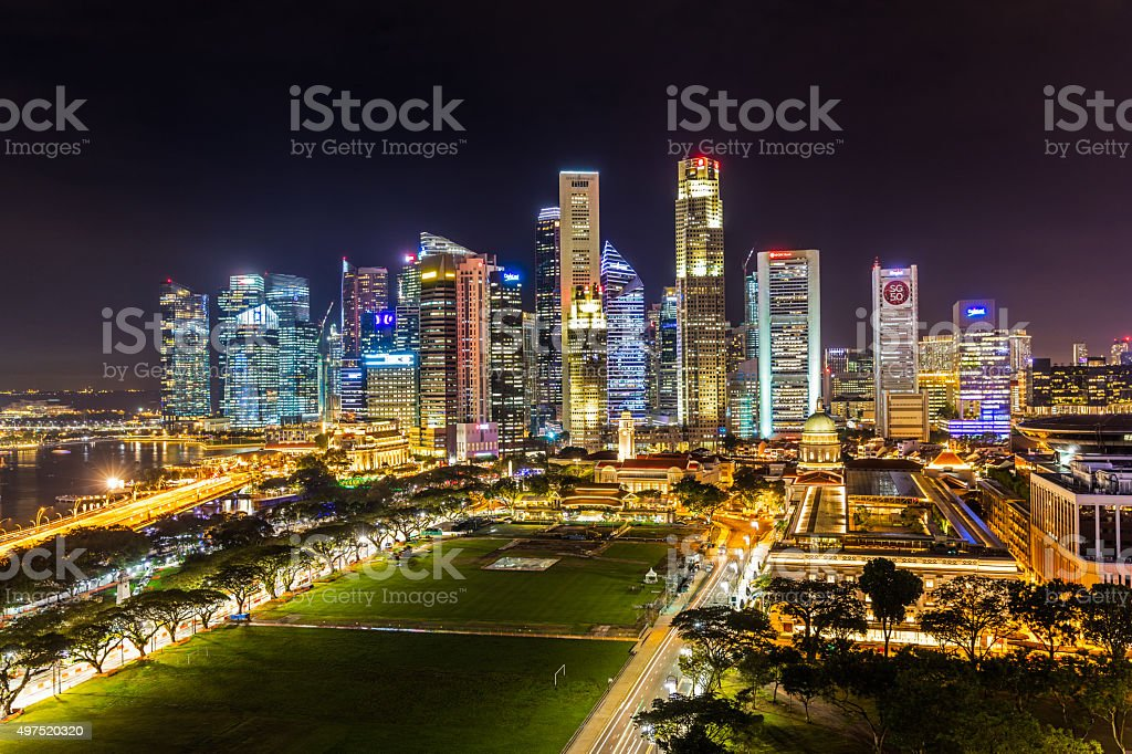 Aerial View Singapore Central Business District SG50 stock photo