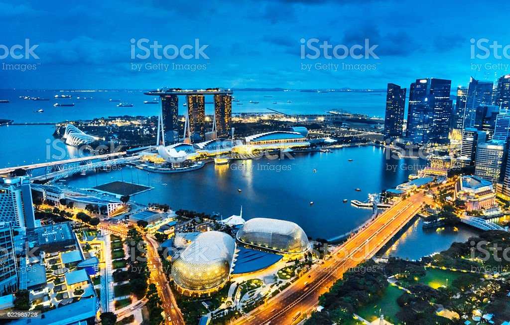 Aerial View Singapore, Marina Bay at Dusk stock photo